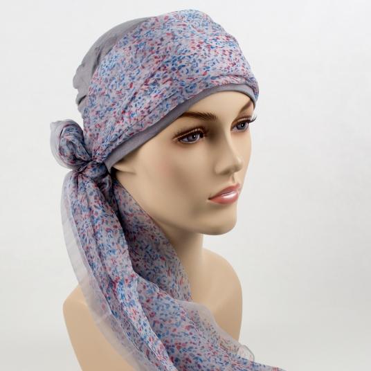 Mix Création 1 Bonnet Gris + 2 Foulards chimio