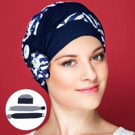 Bonnet macaron - bleu et blanc