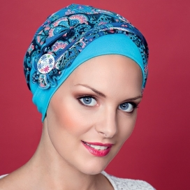 Bonnet Kenaya bouton - bleu turquoise