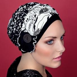 Bonnet Kenaya bouton - noir et blanc
