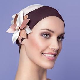 Bonnet Jardin d'été - Rose clair et chocolat
