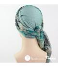 Mix Création 1 Bonnet vert océan + 2 Foulards chimio