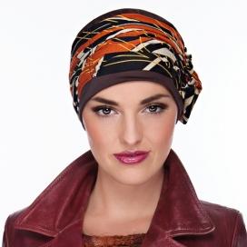 Bonnet Lounia - chocolat plissé, orange et crème