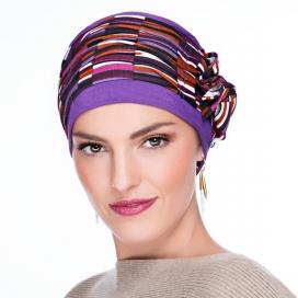Bonnet Lounia - violet plissé, marron et crème
