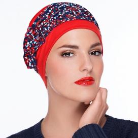 Bonnet Lounia - orangé, rouge plissé, marine et pois