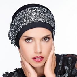 Bonnet Lounia - noir plissé, chiné noir & blanc