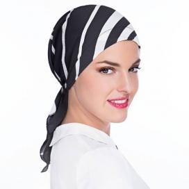 Bandana Athènes - imprimé géométrique, noir et blanc