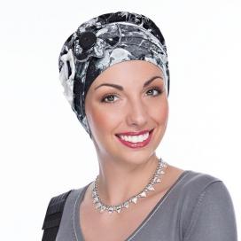 Bonnet Macaron bouton - bonnet noir. Bandeau gris et blanc