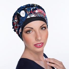 Bonnet Macaron bouton - bonnet noir, bleu fleuri, rouge. Couleurs de bandeau identique