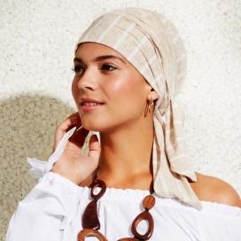 Turban-Foulard chimio Viva transat mix lin