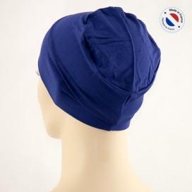 Bonnet de nuit chimio bambou - bleu - Fabriqué en france