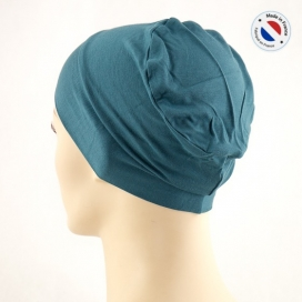 Bonnet de nuit chimio bambou - bleu canard - Fabriqué en france