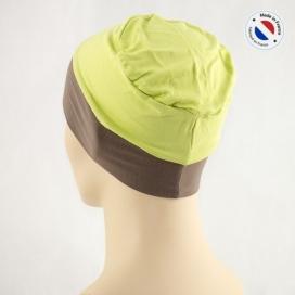 Bonnet de nuit chimio bambou - anis revers taupe - Fabriqué en france