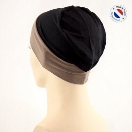 Bonnet de nuit chimio bambou - noir revers taupe - Fabriqué en france