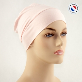 Bonnet de nuit chimio bambou - rose pâle - Fabriqué en france