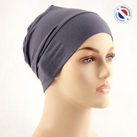 Bonnet de nuit chimio bambou - gris - Fabriqué en france