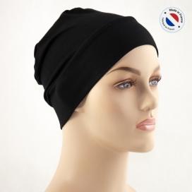 Bonnet de nuit chimio bambou - noir - Fabriqué en france