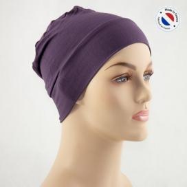 Bonnet de nuit chimio bambou - prune - Fabriqué en france
