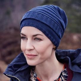 Bonnet chimio MAILLE coton - Bleu profond