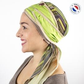 Turban long vert + Bonnet bambou - Campagne
