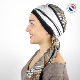 Turban long blanc + Bonnet bambou - City