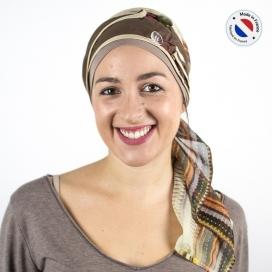 Turban long marron + Bonnet bambou - Désert
