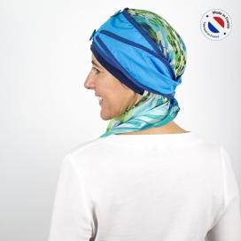 Turban long bleu + Bonnet bambou - océan
