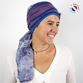 Turban long prune + Bonnet bambou - Sky