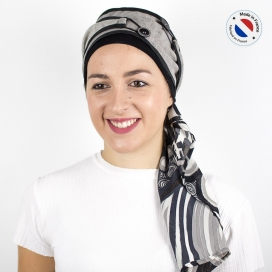 Turban long gris + Bonnet bambou - Urbain