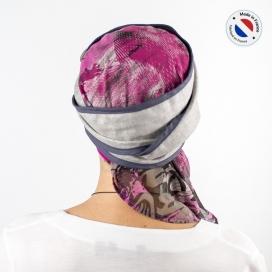 Turban long gris + Bonnet bambou - Violette