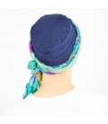 Turban Bali Bleu marine - 1 Bonnet + 2 Foulards chimio