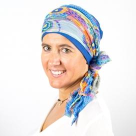 Turban Bali Bleu indigo - 1 Bonnet + 2 Foulards chimio