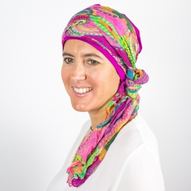 Turban Bali Fuschia - 1 Bonnet + 2 Foulards chimio