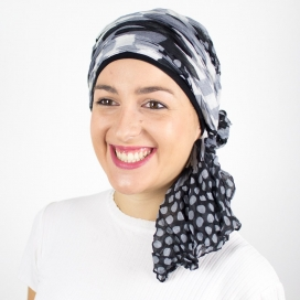 Turban Bali noir - 1 Bonnet + 2 Foulards chimio