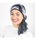 Turban Bali noir - 1 Bonnet + 2 Foulards chimio