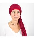 Turban Bali rouge - 1 Bonnet + 2 Foulards chimio