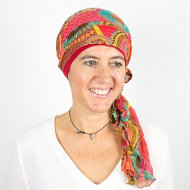 Turban Bali rouge - 1 Bonnet + 2 Foulards chimio