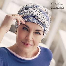Bonnet chimio + bandeau bambou - Aquarelle