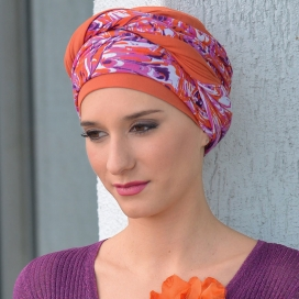 Bonnet chimio bambou NADIA - Orange