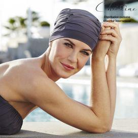Bonnet de bain chimio : swim cap Bleu Gris