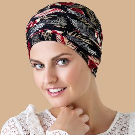 Bonnet Kenaya Fleuri Noir et Rouge