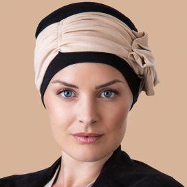 Bonnet Turban Chimio Bleuet Noir Beige
