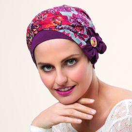 Bonnet Turban Kenaya Fleuri rouge prune