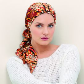 Bandana bonnet chimio Dalhia Orange Brique