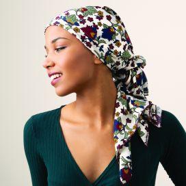 Bandana bonnet chimio Dalhia Ecru fleuri