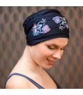 Turban Chimiotherapie - broderie fait main - made in france - Rose comme femme