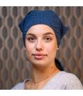 Bandana coton - Bleu pois- perte cheveux traitement radiotherapie - Rose comme femme