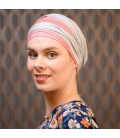 Masquer perte cheveux- Turban radiothérapie - Rose comme femme - traitement chimiothérapie