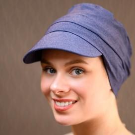 Casquette chimio - Diane - Lookhatme - Bleu jean - Rose comme femme