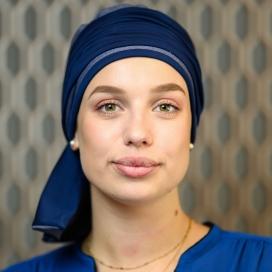 Turban Chimio Hélène Reverse bicolore - Bleu marine et ciel - Lookhatme - Rose comme femme